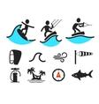 Summer water sport pictograms vector image