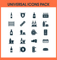 alcohol icons set with beer in hand stand with vector image