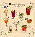 alcoholic drinks colored collection vector image vector image