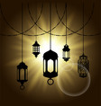 Arabic lantern black shadow silhouette with sun