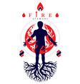 athletic man composed with tree roots fire person vector image vector image