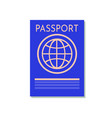 blue passport isolated on white international vector image