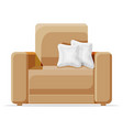 brown armchair with white pillow isolated on white vector image