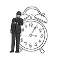 businessman looking at wrist watch with big retro vector image vector image