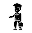 businessman with case side view icon vector image