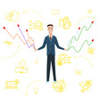 businessman with charts flat vector image vector image