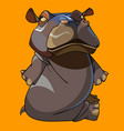 cartoon funny hippo sitting on the floor vector image vector image