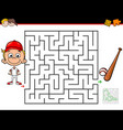 cartoon maze activity with boy and baseball vector image vector image