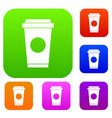 coffee in take away cup set collection vector image vector image