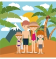 family beach vacation design vector image vector image