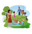 family picnic in park or garden cartoon vector image vector image