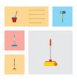 flat icon cleaner set of cleaning cleaner sweep vector image vector image
