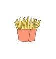 french fries in red carton drawing vector image