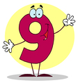 Funny Cartoon Friendly Number 9 Nine Guy vector image vector image
