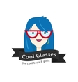 funny girl in glasses logo Glasses store vector image
