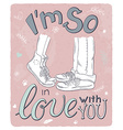 hand drawn romantic poster with hugging couple and vector image vector image