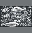 Hand drawn seafood set vector image