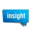 insight blue 3d realistic paper speech bubble vector image vector image