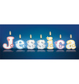 JESSICA written with burning candles vector image vector image