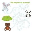 Labyrinth maze find a way panda koala bear vector image vector image