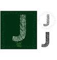 leaves alphabet letter j vector image