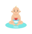 Little Baby Boy In Nappy Having Belly Pain Part vector image vector image