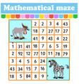 mathematical rectangle maze donkey and zebra game vector image vector image
