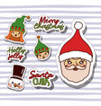 merry christmas with stickers faces of gnomes vector image vector image