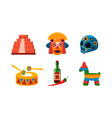 mexico icons set mexican cultural symbols vector image