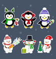 new year and christmas card set stickers of three vector image vector image