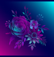 paper art realistic 3d flowers on a neon vector image vector image
