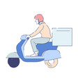 parcels or mail delivery postman on scooter box vector image