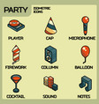 party color outline isometric icons set vector image vector image