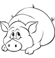 pig cartoon laying isolated on white background vector image vector image