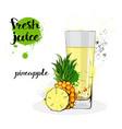 pineapple juice fresh hand drawn watercolor fruits vector image