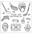 puck hand drawn doodle set isolated elements vector image
