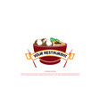 red bowl chopstick with meatball and noodle asian vector image