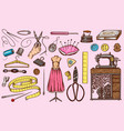 set of sewing tools and elements or materials for vector image vector image