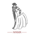 spanish matador in graphic hand drawn style vector image vector image