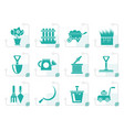 stylized garden and gardening tools icons vector image vector image