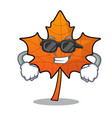 super cool red maple leaf character cartoon vector image
