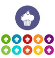 sweet cupcake icons set color vector image vector image