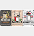 tobacco items cigars and cigarettes vector image vector image