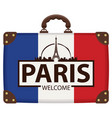 travel bag with french flag and the eiffel tower vector image vector image