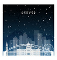 winter night in denver night city in flat style vector image vector image