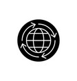 world economy black icon sign on isolated vector image vector image