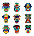 zulu or aztec mask icons vector image