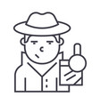 detective line icon sign on vector image