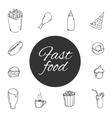 fast food Sketch design icon set vector image