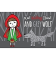 Red Riding Hood and Grey Wolf vector image